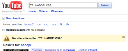 hadopi youtube csa tf1