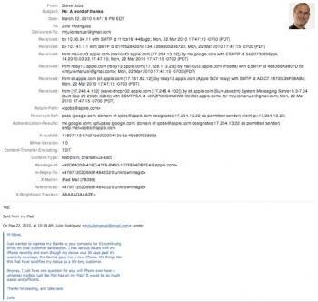 mail steve jobs iphone