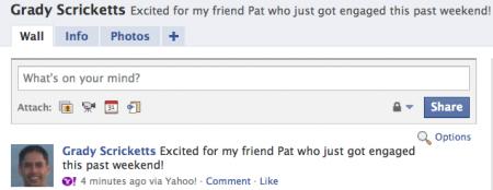 statut facebook dans yahoo! mail