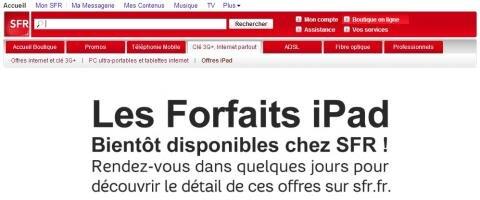 Forfaits iPad SFR