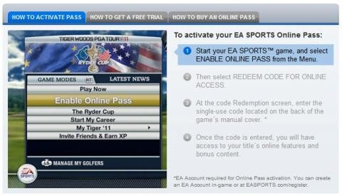 Online Pass Tiger Woods