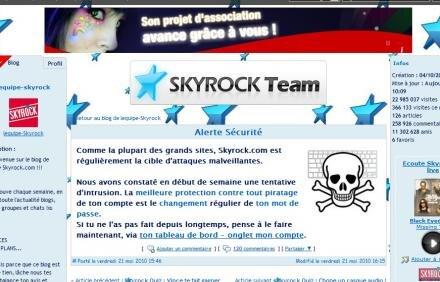 skyrock piratage tentative intrusion