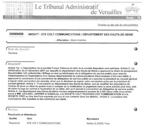 Tribunal Administratif Versaille Colt Free Numericable