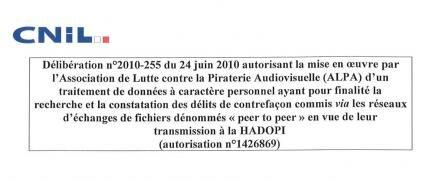 CNIL délibération ALPA hadopi