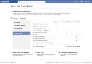 Facebook paramètres vie privée