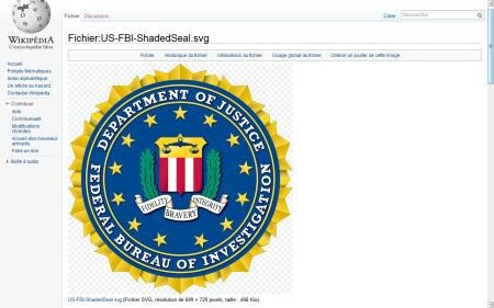 le fbi menace wikipedia pour l 39 affichage de son logo officiel. Black Bedroom Furniture Sets. Home Design Ideas