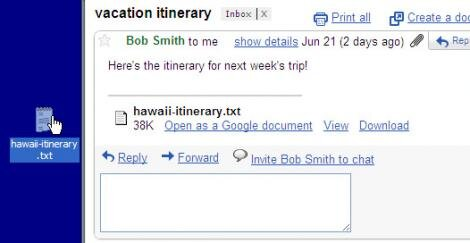 glisser fichiers attachés gmail