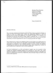 lettre FAI ministere Free numéricable orange bouygues