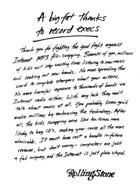 lettre ouverte de Rolling Stone Magazine