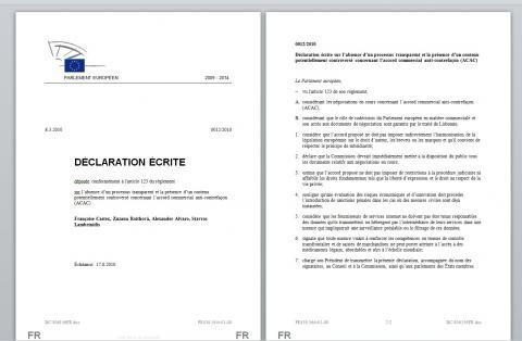 acta declaration 12 castex parlement européen