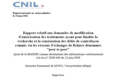 hadopi rapport cnil