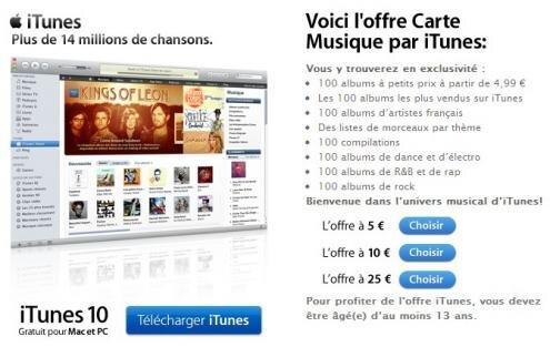 Carte Musique Jeune CMJ iTunes