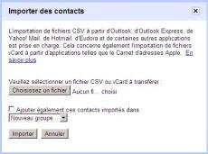 Gmail importation contacts