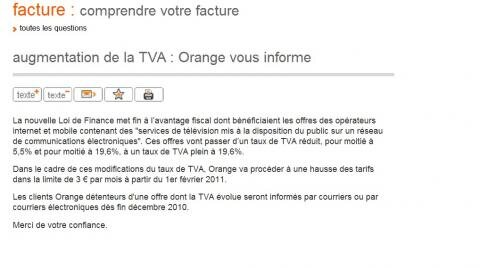 orange internet FAI abonnement 3 euros TVA