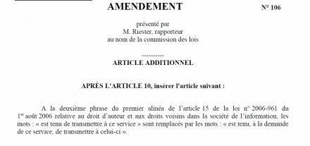 amendement dadvsi HADOPI franck riester