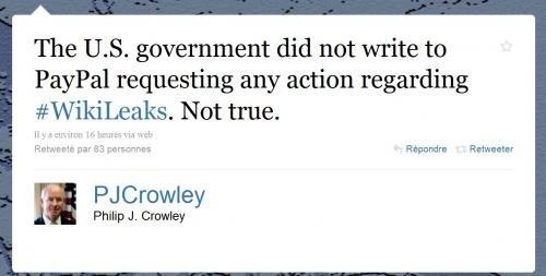 twitter Philip Crowley wikileaks paypal