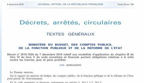 ARJEL décret blocage flux financiers
