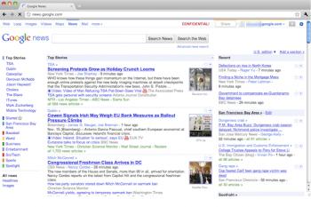 google barre menu