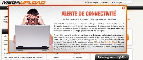 MegaUpload lenteurs Orange message