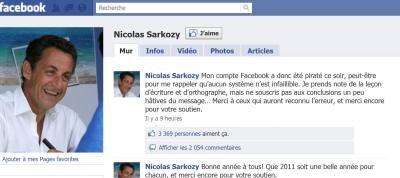 compte facebook nicolas sarkozy piratage LOPPSI