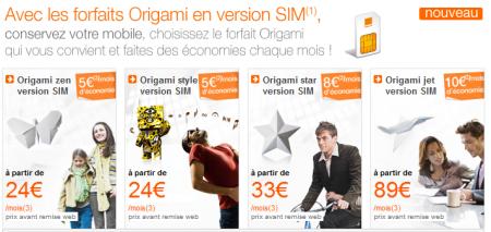 Orange origami SIM