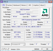 CPU-Z Acer Aspire One 522 AMD Fusion C-50