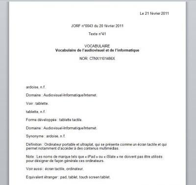 journal officiel tablette ardoise