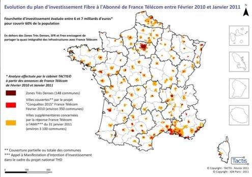 Orange France Telecom FTTH 2015 carte