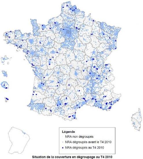 ARCEP NRA degroupage carte France 31 decembre 2010