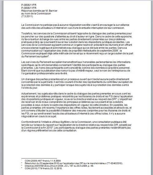 réposne michel barnier ACTA hadopi Castex