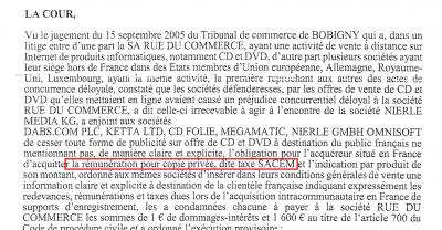 taxe sacem rémunération copie privée
