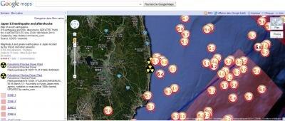 carte google japon tremblement tsunami nucléaire