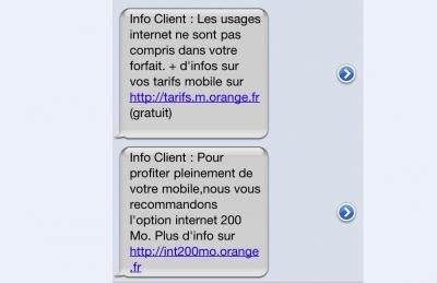 SMS orange option internet