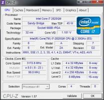 WiDi CPU Z Core i7 2820QM
