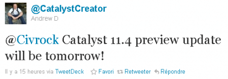 Radeon Catalyst 11.4 Preview annonce sur Twitter
