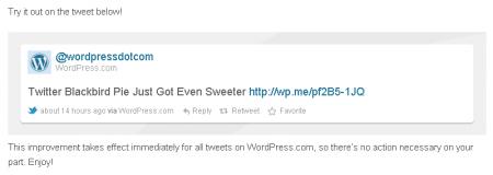 WordPress Twitter Blackbird Pie