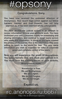 Sony lettre anonymous