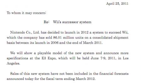 Annonce Nintendo nouvelle console Wii
