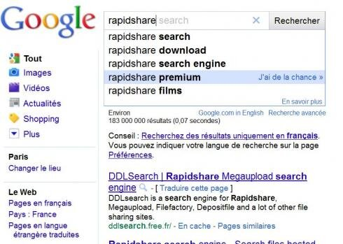 rapidshare torrent megaupload google suggest
