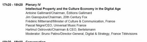 dialogue eG8 forum nicolas Sarkozy