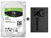 Disque dur interne BarraCuda 3 To et SSD Kingston A400 240 Go à 99,66 €