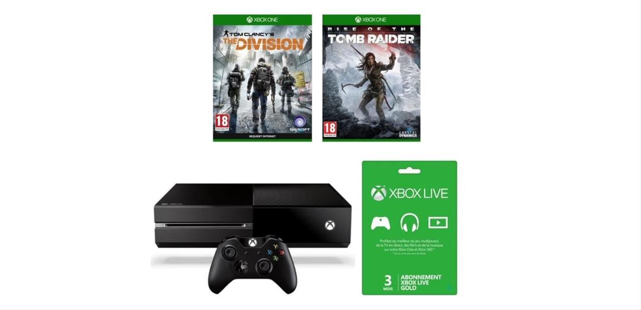 Xbox One 1 To avec The Division, Tomb Raider et 10 € Xbox Live : 309,99 €