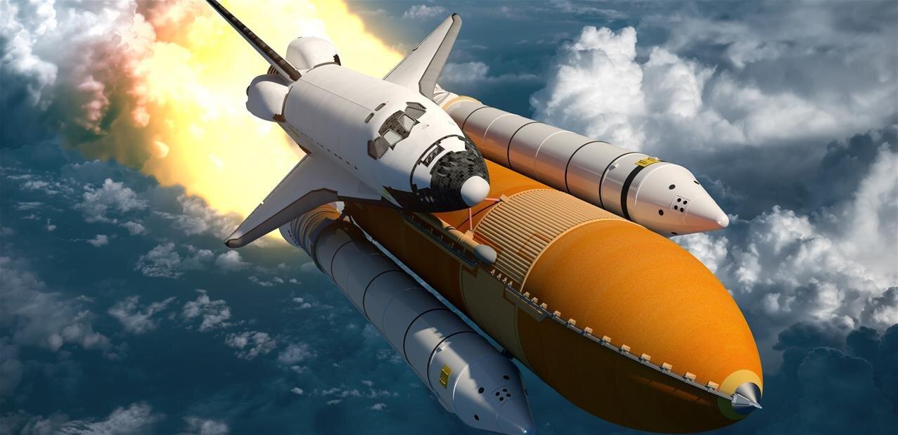 打ち上げられたスペースシャトル画像