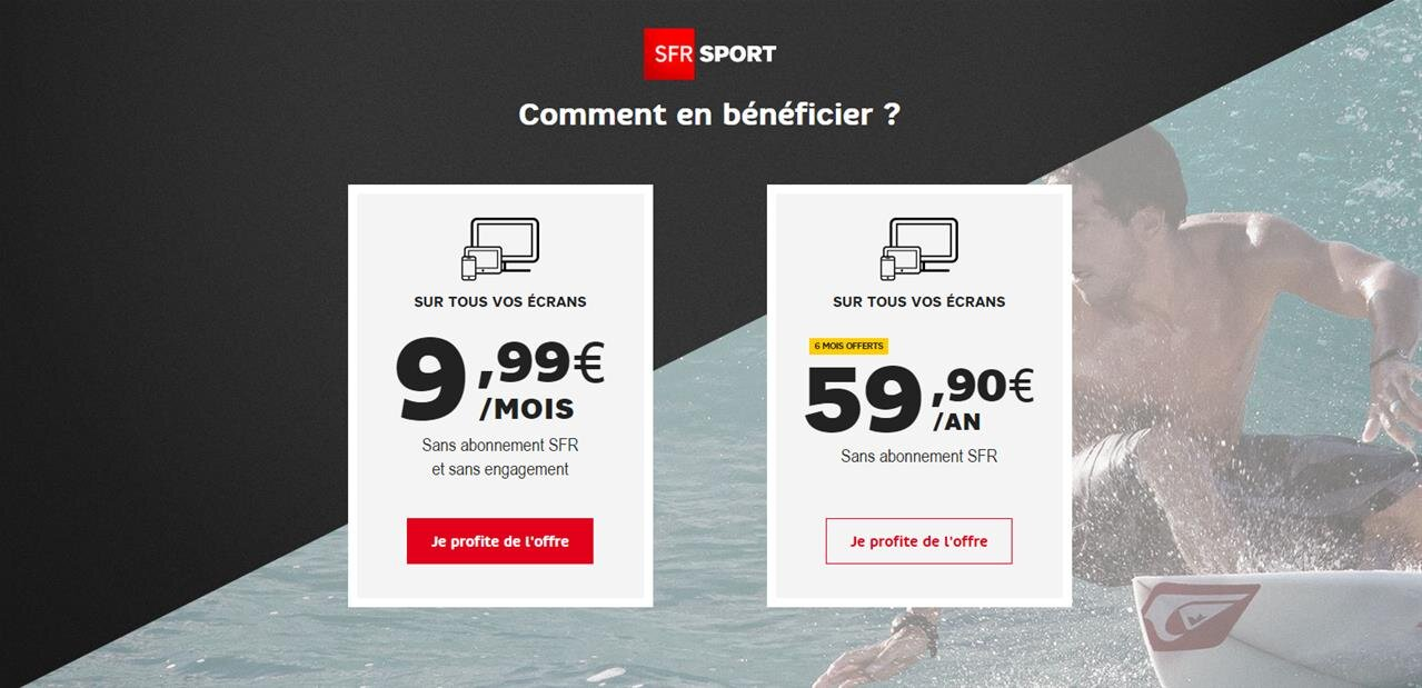 sfr sport une offre 100 digitale 9 99 euros par mois ou 59 90 euros par an. Black Bedroom Furniture Sets. Home Design Ideas