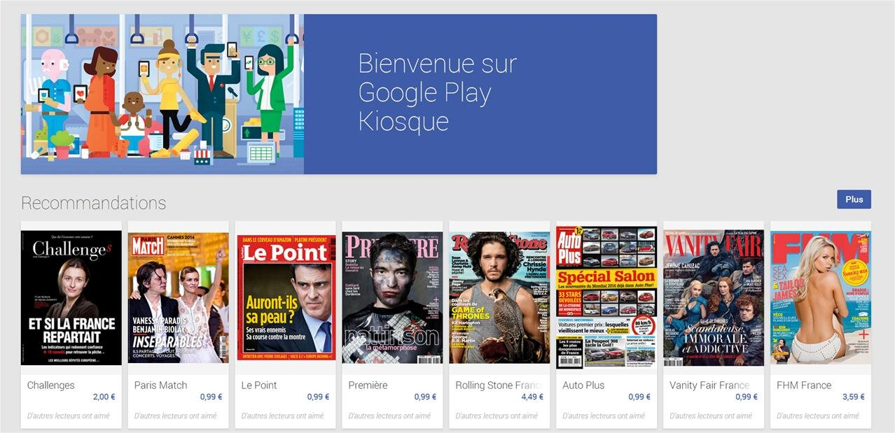 google play kiosque propose d sormais de s 39 abonner la presse fran aise. Black Bedroom Furniture Sets. Home Design Ideas
