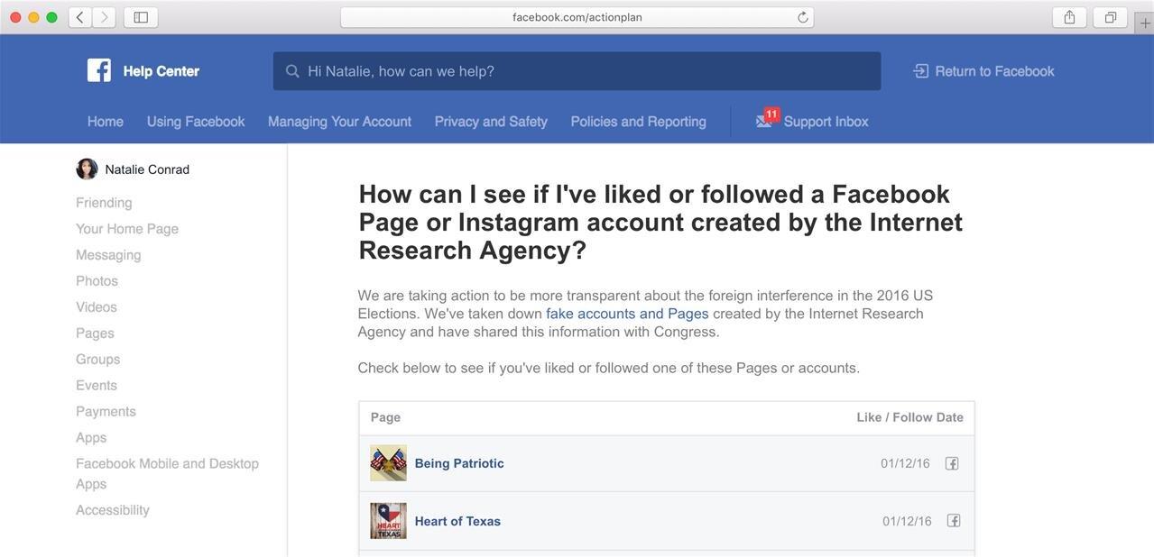 Facebook va proposer un outil pour savoir si vous avez été touché par la propagande russe