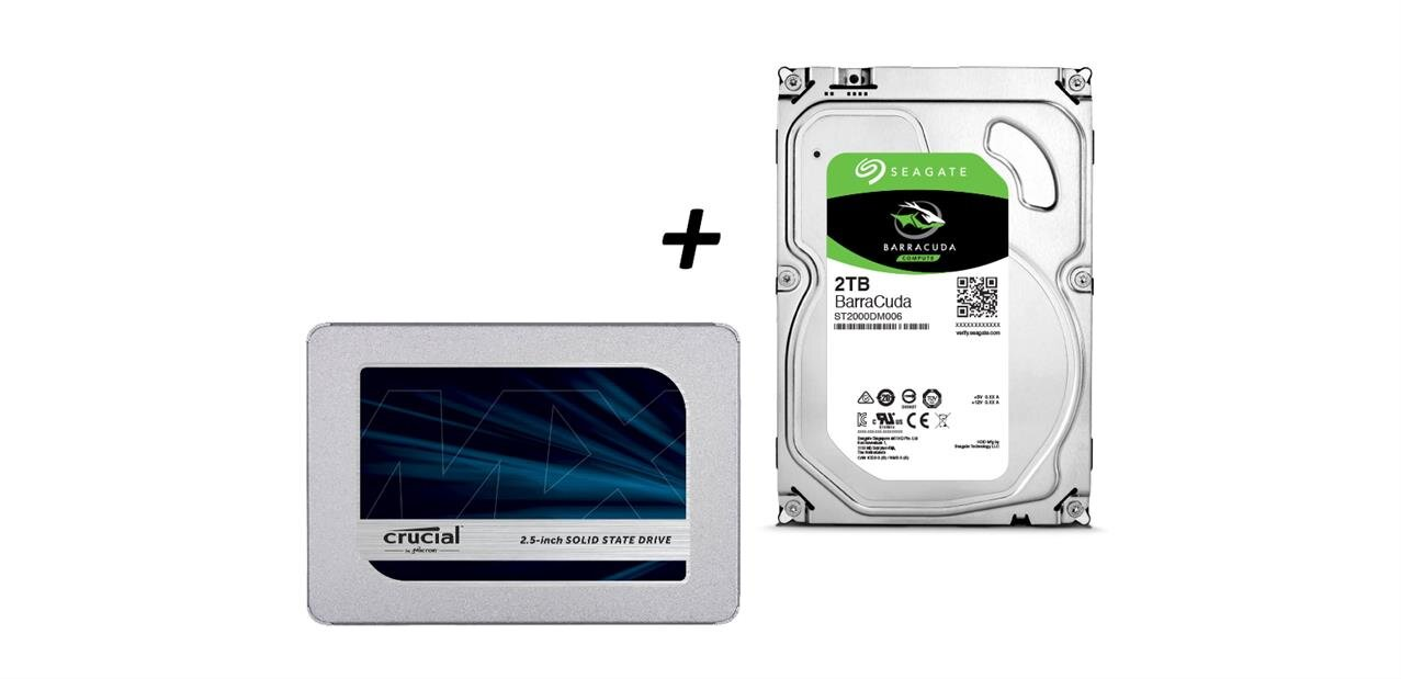 Pack SSD Crucial MX500 500 Go et HDD Seagate BarraCuda 2 To à 179,90 €