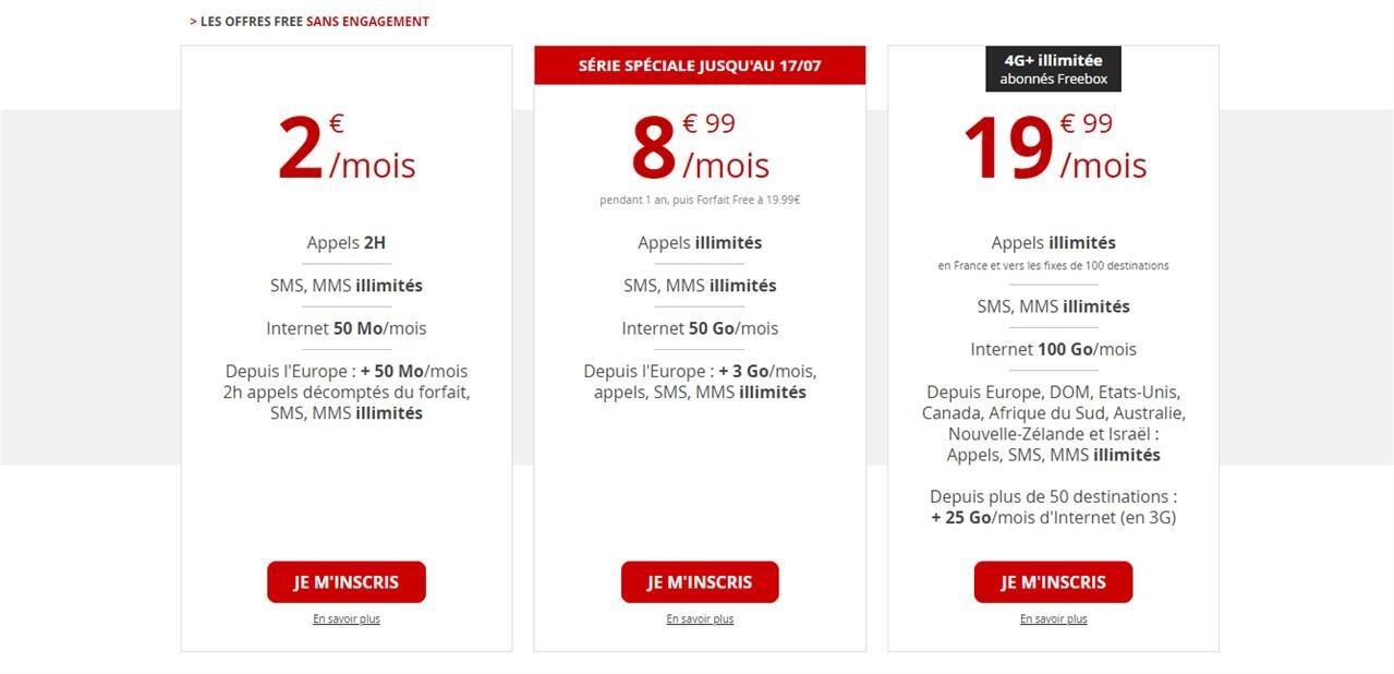 Forfait Free Mobile 50 Go : 8,99 euros par mois, pendant un an