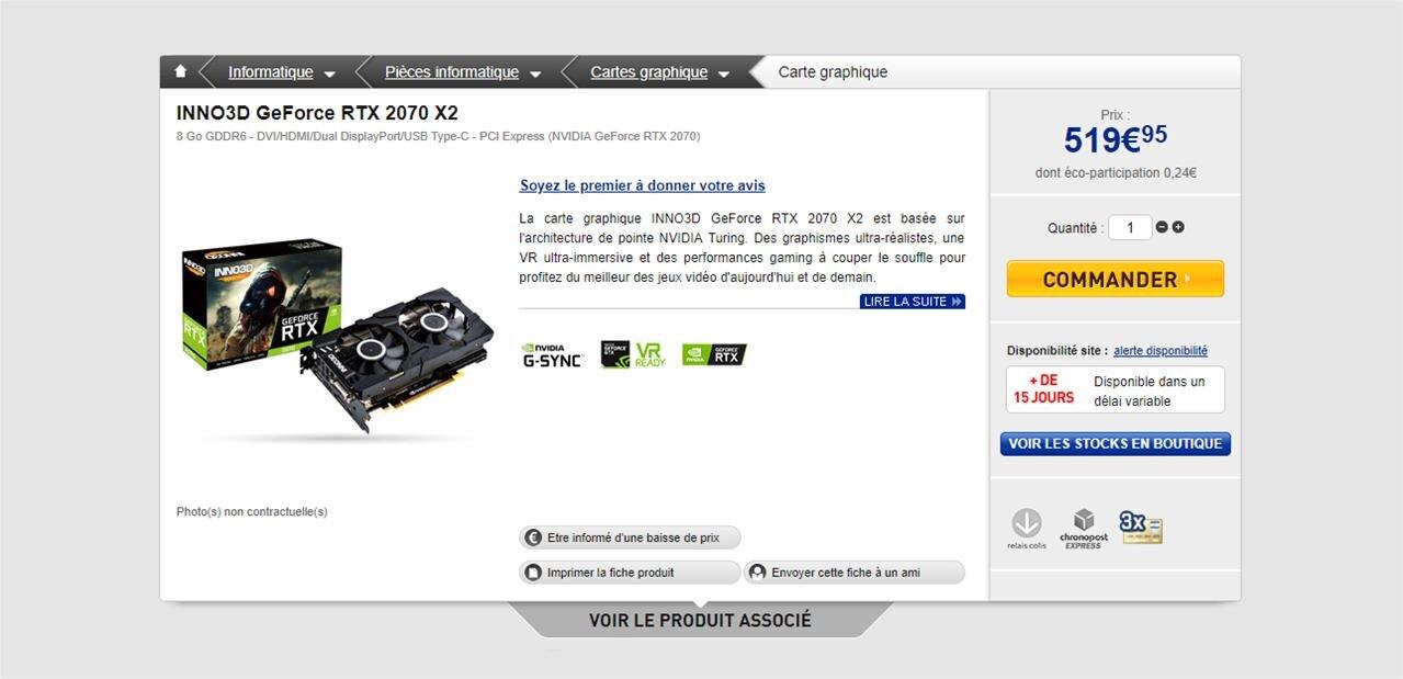 GeForce RTX 2070 : un prix de départ de 519 euros, des cartes dépassent déjà les 730 euros