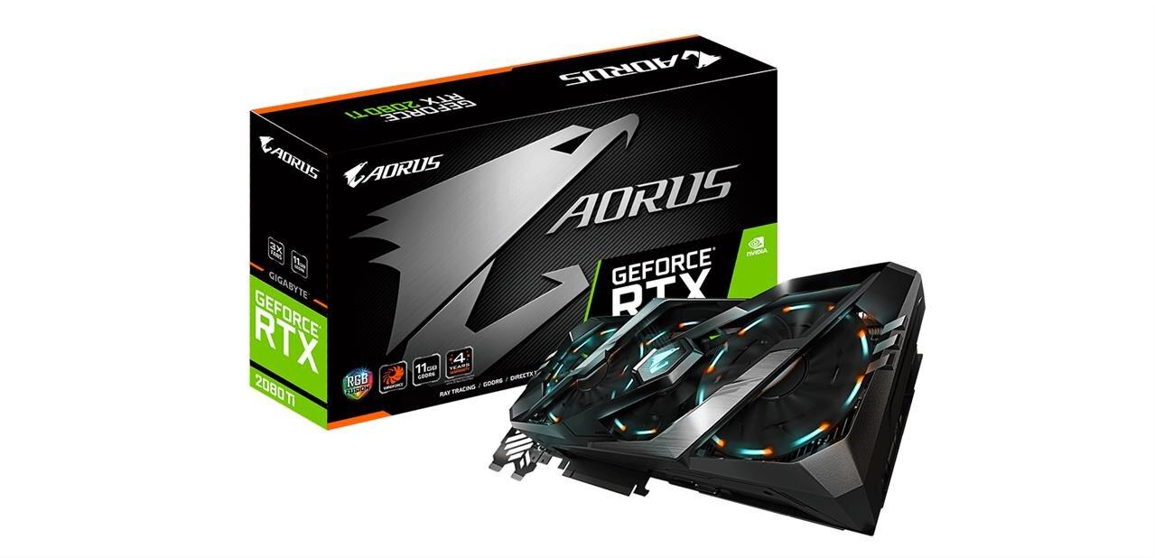 Trois Aorus GeForce RTX 2080 (Ti) chez Gigabyte, avec « triple RGB » et sept sorties vidéo